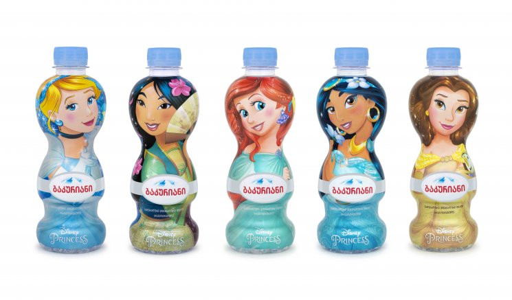 Disney Princesses on the bottles of Bakuriani